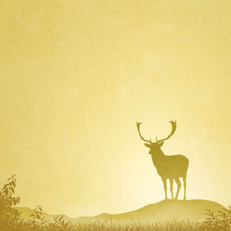 rut: Slightly Grungy Landscape Illustration with Male Stag Deer