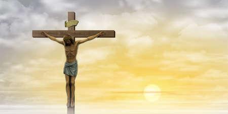 Jezus Christus aan het kruis met wolken en Misty Sunrise, Sunset. Stockfoto