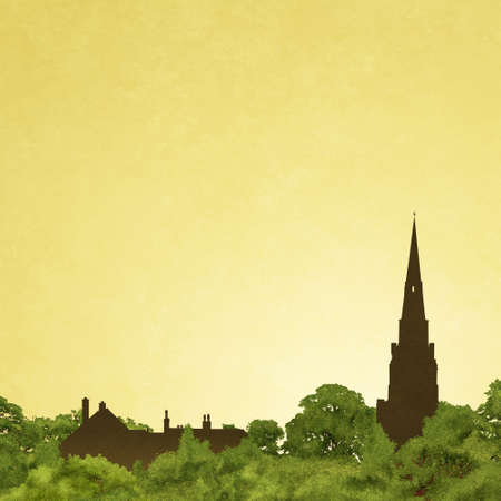 steeple: Slightly Grungy Landscape with Church Spire in Silhouette and Trees