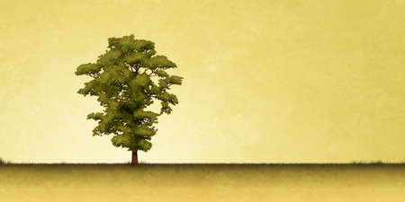 lone: Slightly Grungy Landscape Illustration with Lone Tree Stock Photo