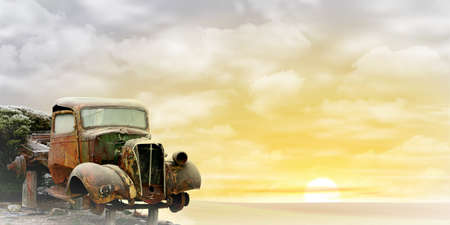 abandoned car: An Old Truck with Misty Sunrise, Sunset. - A manipulated photograph with some illustration elements.