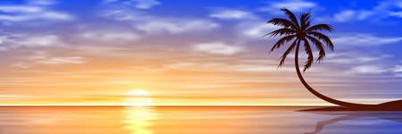 A Beautiful Sunset, Sunrise with Palm Tree.  Illustration