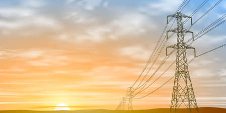 electricidad industrial: Líneas de energía eléctrica y Pilones con Sunrise, Sunset.