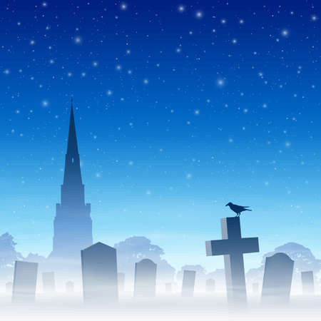 spire: Misty Graveyard, Cemetery with Tombstones and Church Spire and Night Sky. Vector EPS 10.