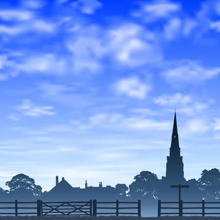 Church Spire in Silhouette with  Wooden Gate and Fence. -  Illustration
