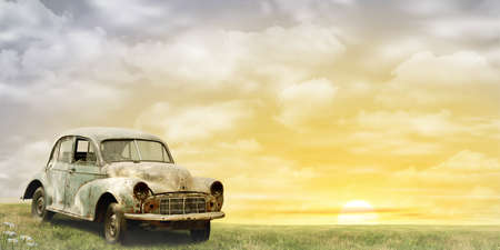 old photograph: An Old Car with Misty Sunrise, Sunset. - A manipulated photograph with some illustration elements. Stock Photo