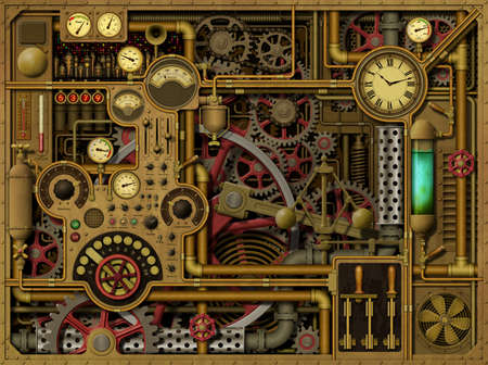 dials: A Steampunk Background with Clocks, Dials, Gears and Cogs, Pipes and Switches.
