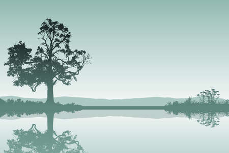 Een Platteland landschap met boom en reflectie in het water Stock Illustratie