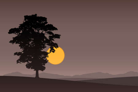 lone: A Lone Tree with Dark Sunset, Sunrise. Illustration