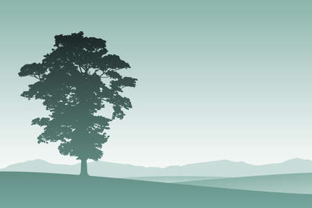 lone: A Lone Tree in Silhouette with Meadow Landscape
