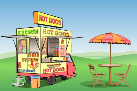 ice cream stand: A Mobile Hot Dog, Ice Cream Stand, Kiosk Illustration
