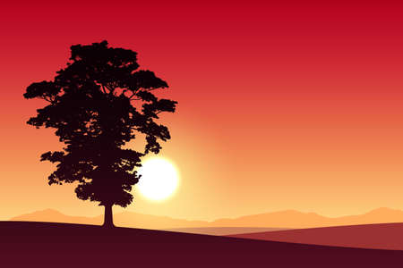 red sunset: A Lone Tree with Red Sunset, Sunrise. Illustration