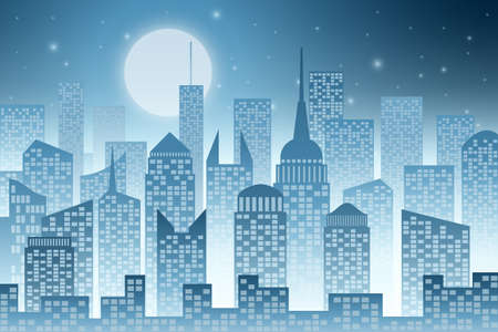 skyscrapers: A Cityscape with Skyscrapers and Moon Illustration