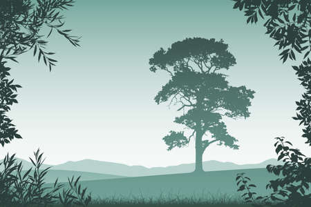 countryside: Landscape with Lone Tree  and Floral Border and Leaves Illustration