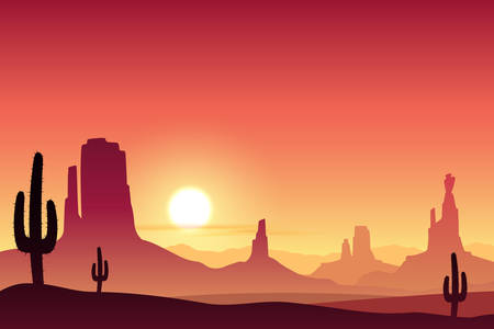 desert landscape: A Desert Landscape with Mountains and Sunset, Sunrise.