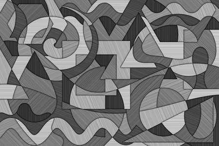 forme geometrique: Un fond cubiste abstrait avec des lignes et formes ondulantes et une texture en métal brossé Banque d'images