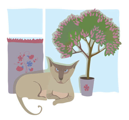 window sill: Cat-sphinx on a window sill. Vector illustration
