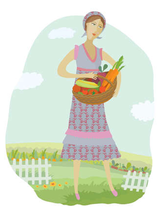 Woman with vegatebles in a kitchen garden Vector