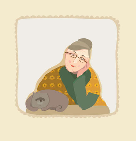 grandmamma: grandmother and cat. vector illustration Illustration
