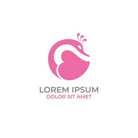 Swan love romance logo vector Logo