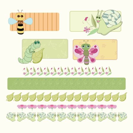 Bee, caterpillar, butterfly and snail with floral design Vector