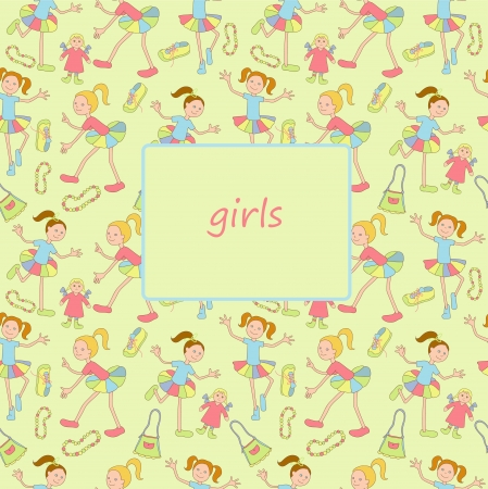 Cheerful girls with toys and others objects Vector