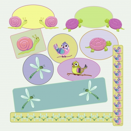 Childs frames with dragonfly, snail, bird, turtle Vector