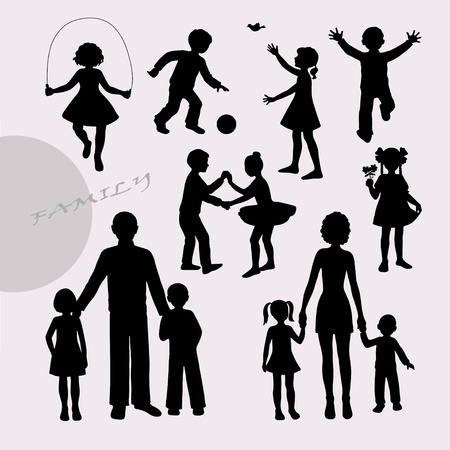 foster: Silhouettes of little children and adult peoples