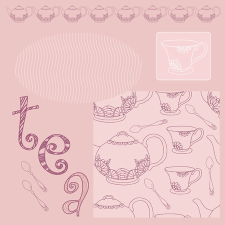 Pink pattern with tea service and frame Vector