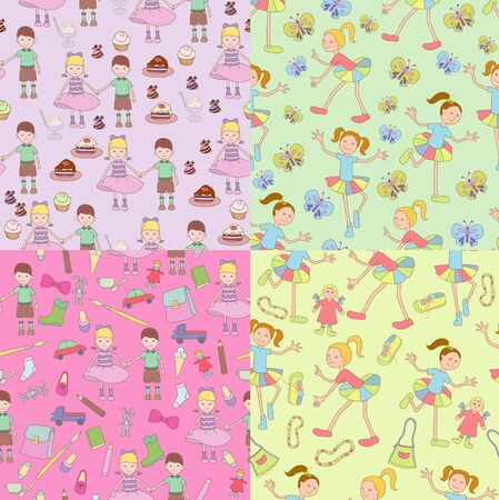 Four cheerful patterns on childrens theme Vector