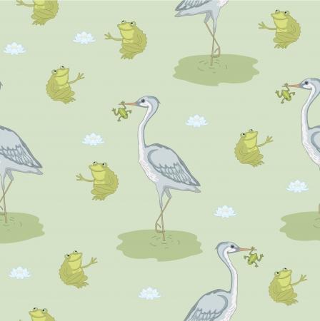 Grey heron with green frog in beak Stock Vector - 17818833