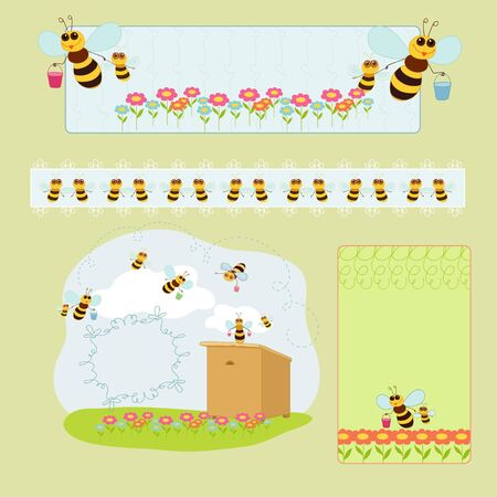 Little sympathetic bees and wooden beehive Vector