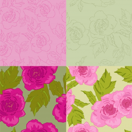 Four bright pattern with summer roses