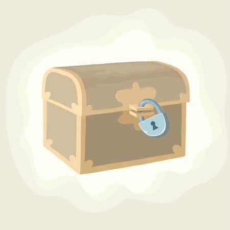 Antique trunk with valuable and golden coin Illustration