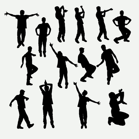describe: Some amusing silhouettes of young man Illustration