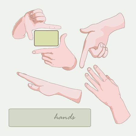 Different position of  male hands and fingers