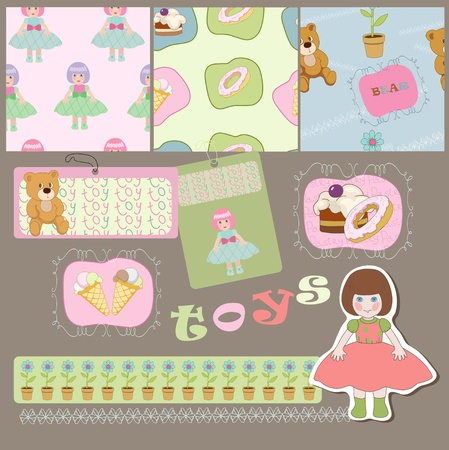 Toys and pastry on the seamless and in bright frames  Vector