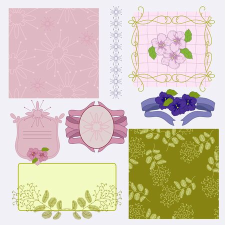 Floral vignette and seamless Vector