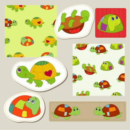 Amusing tortoise for little boy and girl Vector