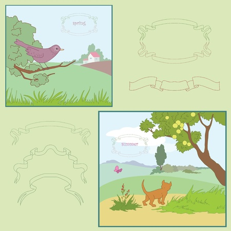 Summer and spring are warm seasons of the year Illustration