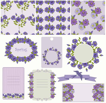 Blue flowers on the seamless Vector