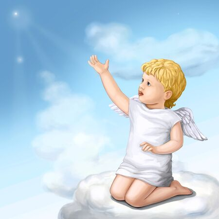 Young  cupid on the cloud photo