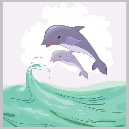 Two dolphins in sea Illustration