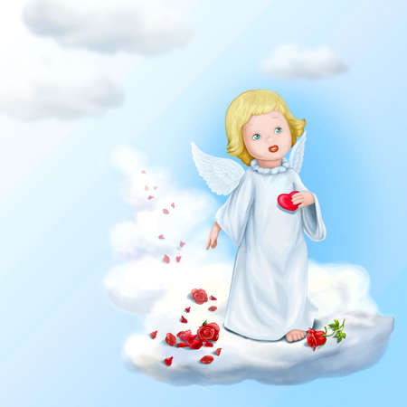 godlike: Young Cupid and his heart Stock Photo