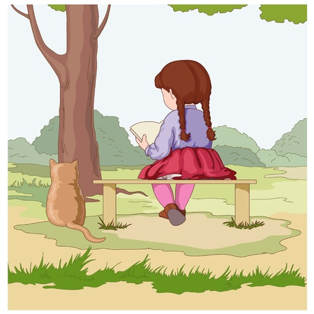 Girl with a book and cat Vector