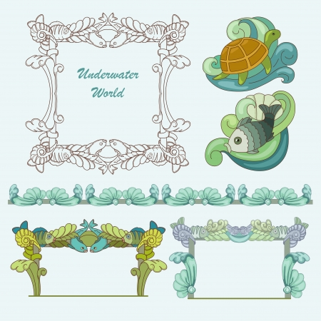 Sea pattern with fish , plant and turtle Vector