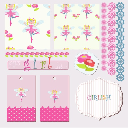 Girlish pattern with flowers and cheerful fairy Vector