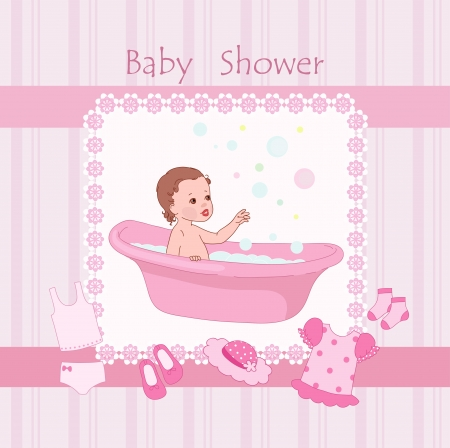 little girl bath: Pink baby shower with little girl Illustration