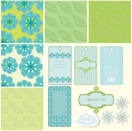 Summer blue and green patterns and frame Vector