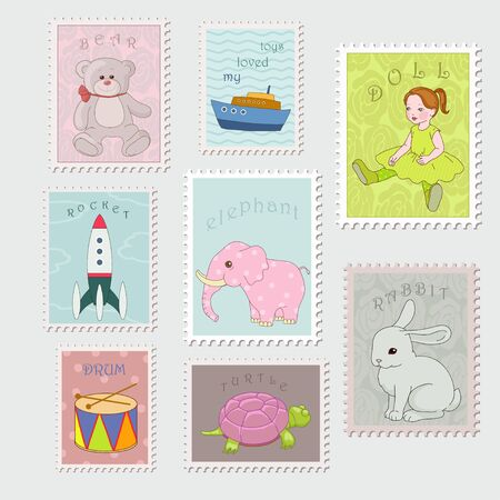 Collection of stamp with child Stock Vector - 19403028